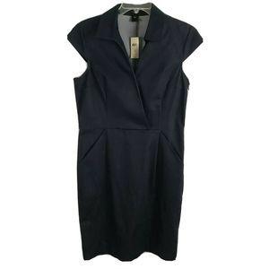 Ann Taylor Surplice Sheath Dress NEW Collar Black